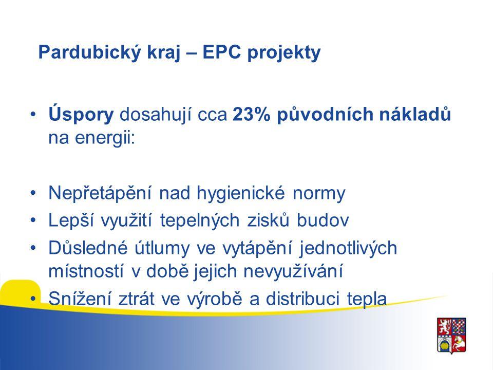 Pardubický kraj – EPC projekty Úspory dosahují cca 23% původních nákladů na energii: Nepřetápění nad hygienické normy Lepší využití tepelných zisků bu