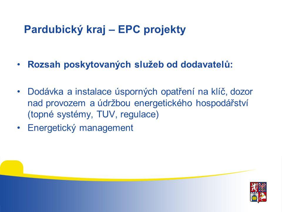 Pardubický kraj – EPC projekty Rozsah poskytovaných služeb od dodavatelů: Dodávka a instalace úsporných opatření na klíč, dozor nad provozem a údržbou