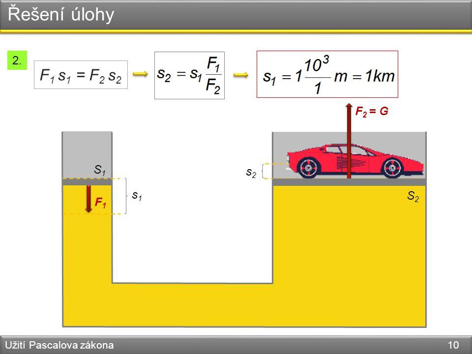 Řešení úlohy Užití Pascalova zákona 10 S1S1 F1F1 s1s1 s2s2 F 2 = G S2S2 F 1 s 1 = F 2 s 2 2.