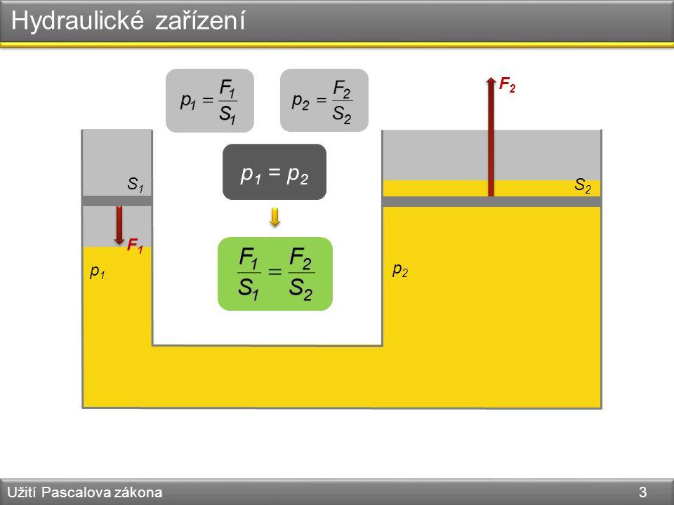 Hydraulické zařízení Užití Pascalova zákona 3 S1S1 F1F1 F2F2 S2S2 p1p1 p2p2 p 1 = p 2