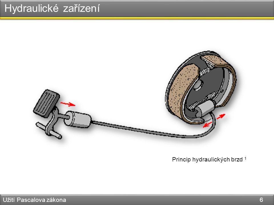 Hydraulické zařízení Užití Pascalova zákona 6 Princip hydraulických brzd 1