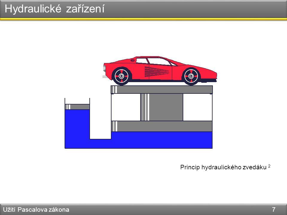 Hydraulické zařízení Užití Pascalova zákona 7 Princip hydraulického zvedáku 2
