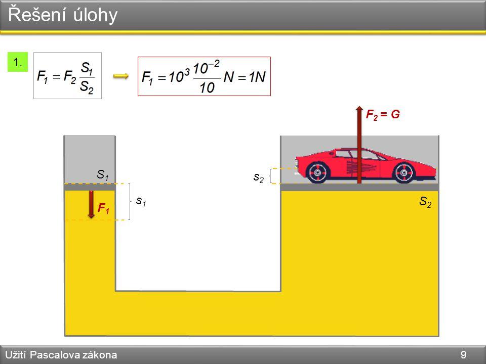 Řešení úlohy Užití Pascalova zákona 9 S1S1 F1F1 s1s1 s2s2 F 2 = G S2S2 1.
