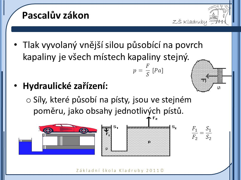 Základní škola Kladruby 2011  Pascalův zákon a jednotka tlaku Tlak je fyzikální veličina, obvykle označovaná symbolem p, vyjadřující poměr velikosti síly F (působící kolmo, rovnoměrně spojitě rozloženou po této ploše) a obsahu plochy S, na kterou síla působí, tedy: Pascal se udává v Pa: