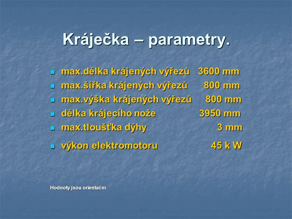 Kráječka – parametry. max.délka krájených výřezů 3600 mm max.délka krájených výřezů 3600 mm max.šířka krájených výřezů 800 mm max.šířka krájených výře