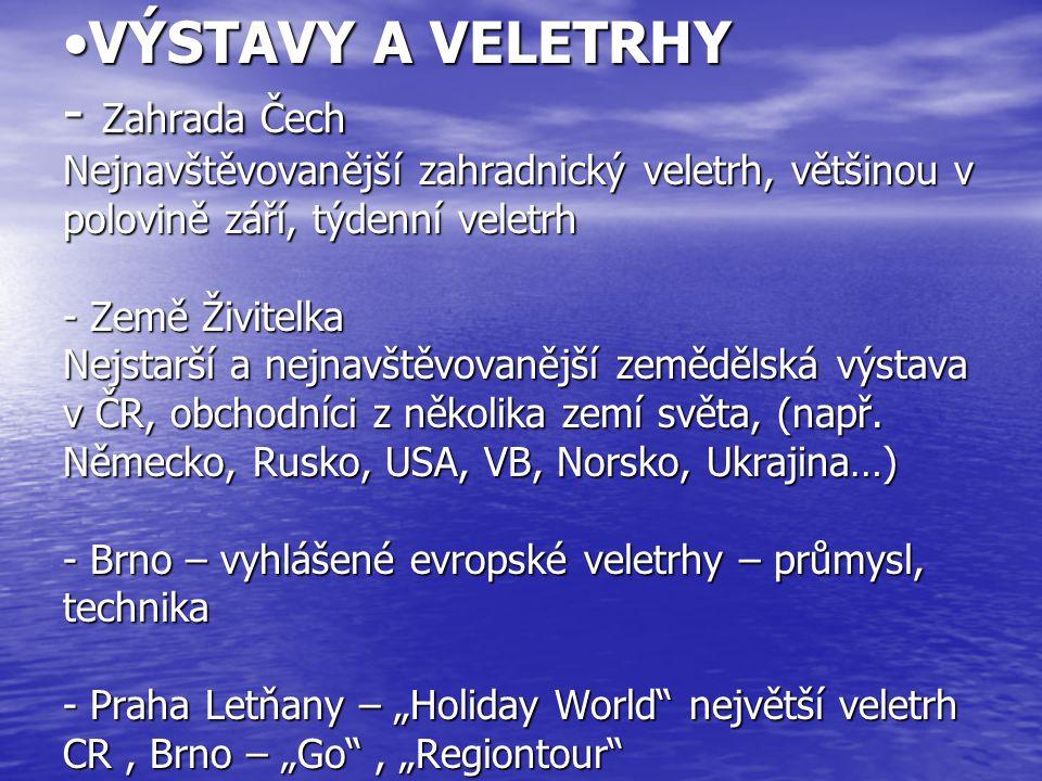 VÝSTAVY A VELETRHY - Zahrada Čech Nejnavštěvovanější zahradnický veletrh, většinou v polovině září, týdenní veletrh - Země Živitelka Nejstarší a nejnavštěvovanější zemědělská výstava v ČR, obchodníci z několika zemí světa, (např.