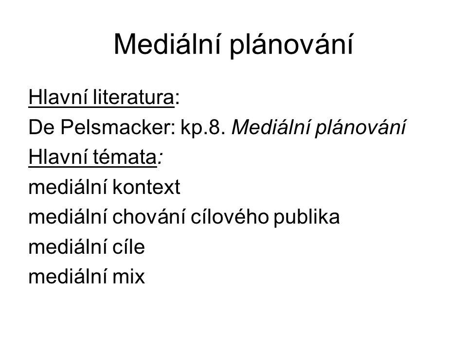 Mediální plánování Hlavní literatura: De Pelsmacker: kp.8.