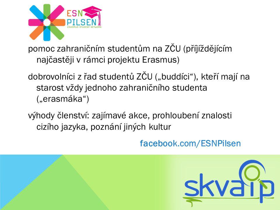 """pomoc zahraničním studentům na ZČU (příjíždějícím najčastěji v rámci projektu Erasmus) dobrovolníci z řad studentů ZČU (""""buddíci""""), kteří mají na star"""