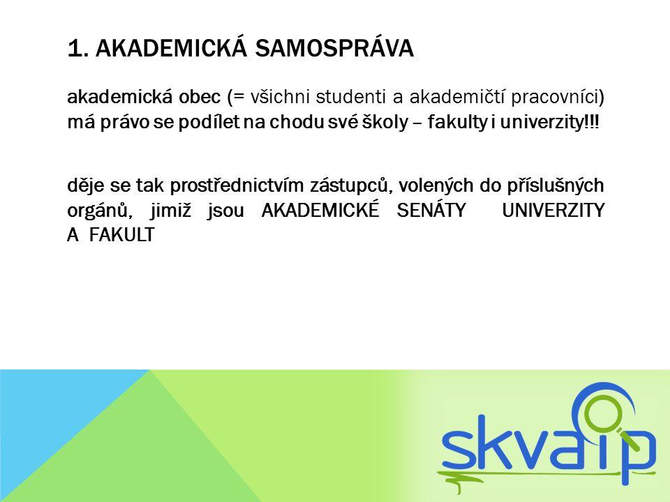 1. AKADEMICKÁ SAMOSPRÁVA akademická obec (= všichni studenti a akademičtí pracovníci) má právo se podílet na chodu své školy – fakulty i univerzity!!!