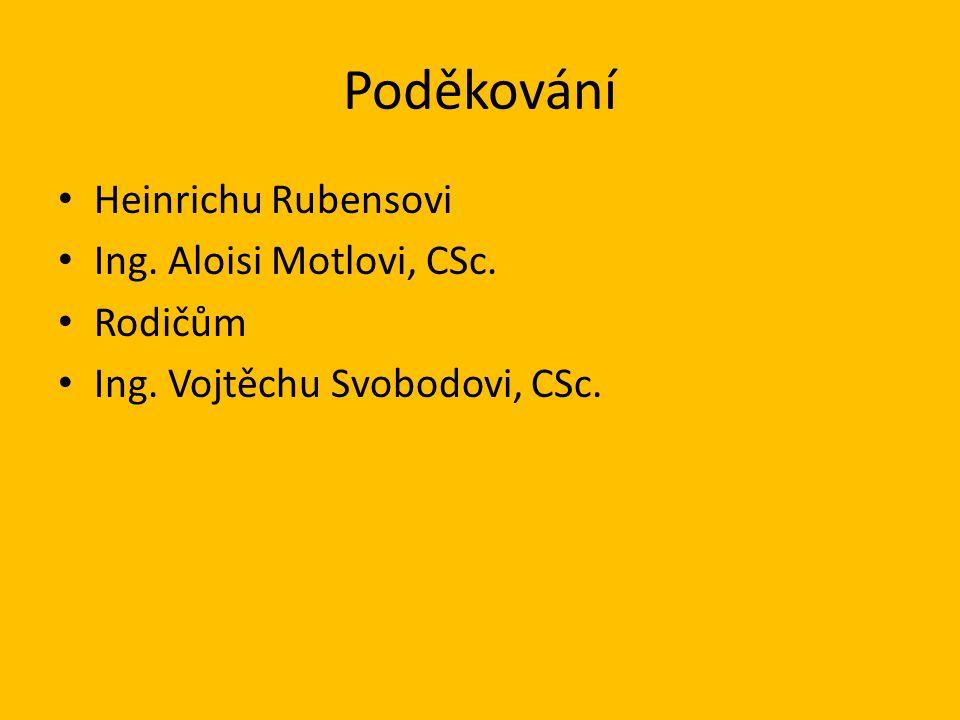Poděkování Heinrichu Rubensovi Ing. Aloisi Motlovi, CSc. Rodičům Ing. Vojtěchu Svobodovi, CSc.