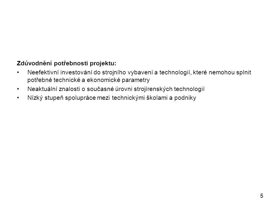 6 2 Cílové skupiny Cílové skupiny: 250 zaměstnanců firem v oblasti služeb a v oblasti výroby ze 100 organizací – firem z výroby a služeb strojírenských technologií Přínosy pro cílovou skupinu: Zvýšení konkurenceschopnosti v návaznosti na absolvování vzdělávacího kurzu Řízení podniku Přehled aktuální legislativy pro příslušný obor Podklady pro budoucí potřeby podniku např.
