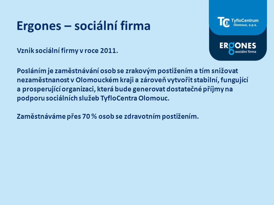 Ergones – sociální firma Vznik sociální firmy v roce 2011. Posláním je zaměstnávání osob se zrakovým postižením a tím snižovat nezaměstnanost v Olomou