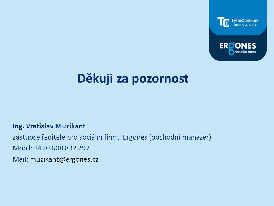 Děkuji za pozornost Ing. Vratislav Muzikant zástupce ředitele pro sociální firmu Ergones (obchodní manažer) Mobil: +420 608 832 297 Mail: muzikant@erg
