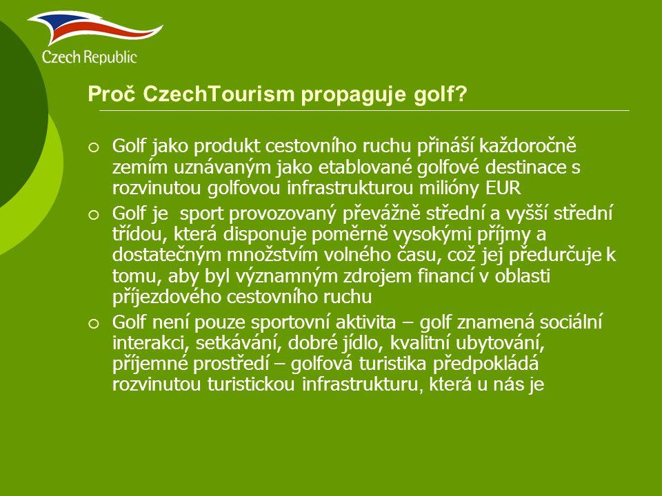 Cíle CzechTourism v golfové propagaci  Česká republika má potenciál stát se přední evropskou golfovou destinací a golfová turistika pak významným zdrojem příjmů z cestovního ruchu  Hlavním cílem CzechTourismu je vytvořit unikátní image České republiky jako golfové destinace a všemi možnými způsoby rozšířit informace o tom, že do ČR se jezdí na golf