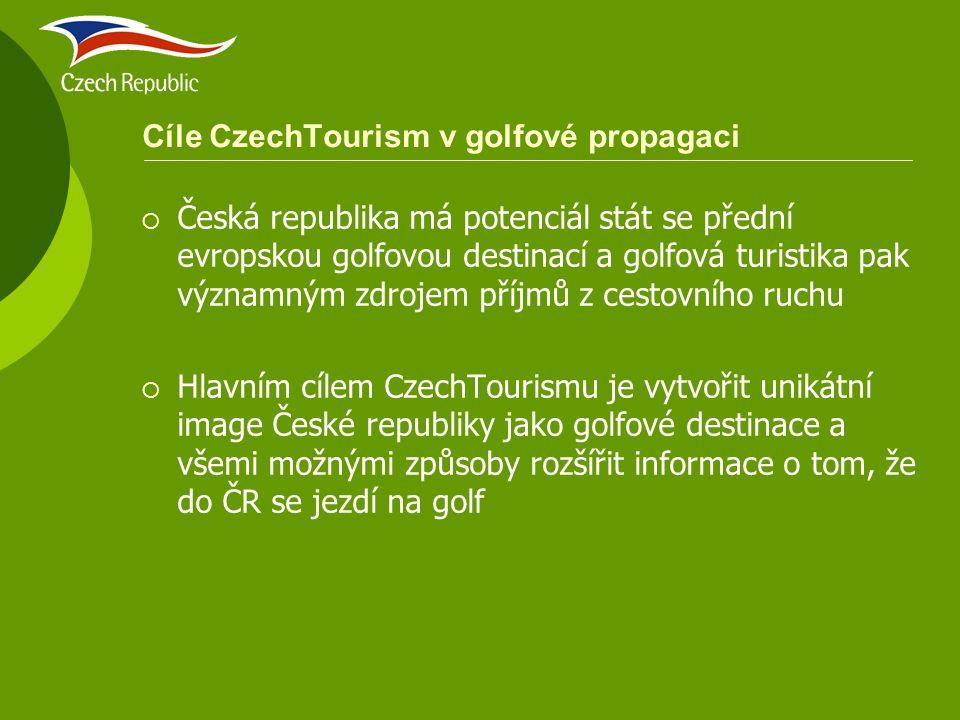 Cíle CzechTourism v golfové propagaci  Česká republika má potenciál stát se přední evropskou golfovou destinací a golfová turistika pak významným zdr