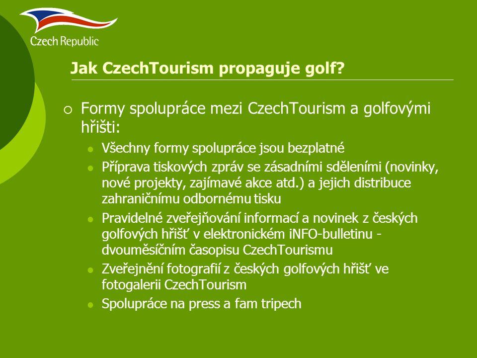 Jak CzechTourism propaguje golf?  Formy spolupráce mezi CzechTourism a golfovými hřišti: Všechny formy spolupráce jsou bezplatné Příprava tiskových z
