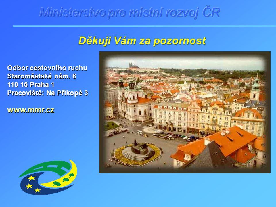 Odbor cestovního ruchu Staroměstské nám. 6 110 15 Praha 1 Pracoviště: Na Příkopě 3 www.mmr.cz Děkuji Vám za pozornost