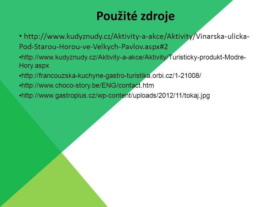 http://www.kudyznudy.cz/Aktivity-a-akce/Aktivity/Vinarska-ulicka- Pod-Starou-Horou-ve-Velkych-Pavlov.aspx#2 http://www.kudyznudy.cz/Aktivity-a-akce/Aktivity/Turisticky-produkt-Modre- Hory.aspx http://francouzska-kuchyne-gastro-turistika.orbi.cz/1-21008/ http://www.choco-story.be/ENG/contact.htm http://www.gastroplus.cz/wp-content/uploads/2012/11/tokaj.jpg Použité zdroje