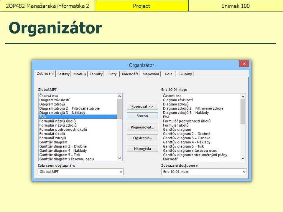 Organizátor ProjectSnímek 1002OP482 Manažerská informatika 2