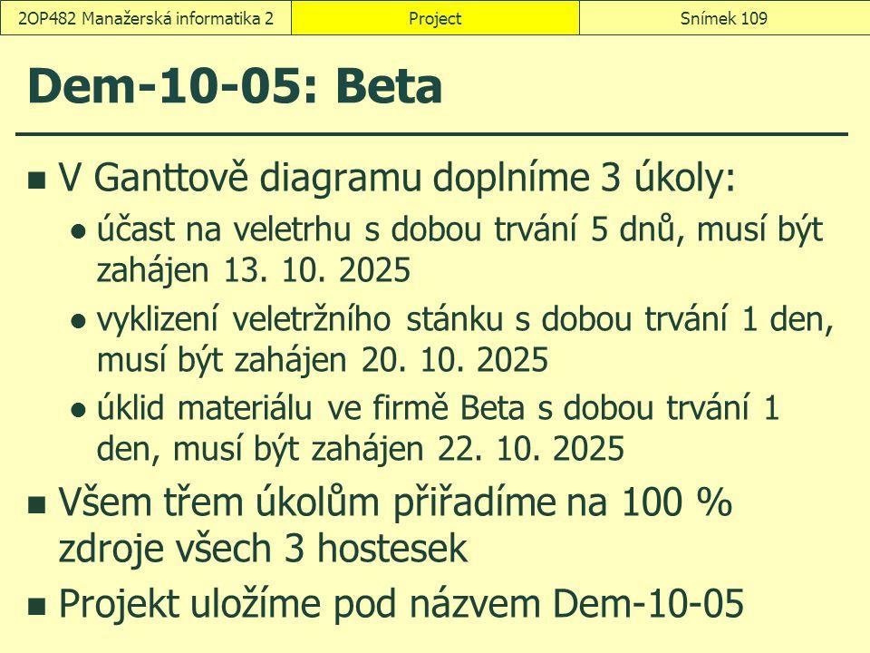 Dem-10-05: Beta V Ganttově diagramu doplníme 3 úkoly: účast na veletrhu s dobou trvání 5 dnů, musí být zahájen 13. 10. 2025 vyklizení veletržního stán
