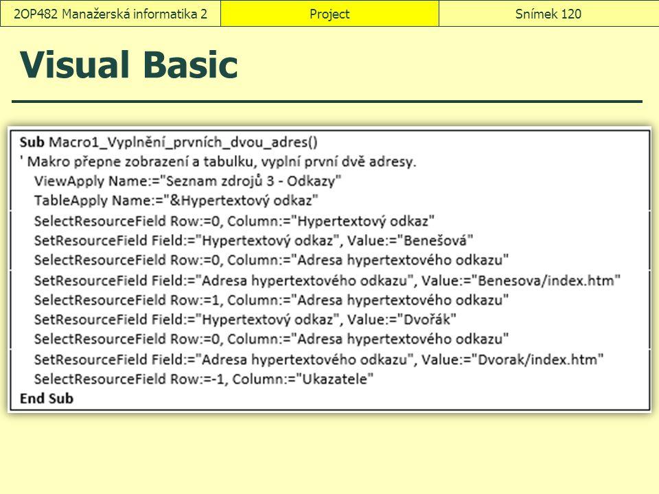 Visual Basic ProjectSnímek 1202OP482 Manažerská informatika 2