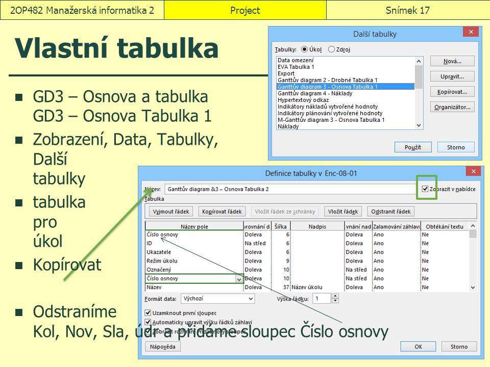 Vlastní tabulka ProjectSnímek 172OP482 Manažerská informatika 2 GD3 – Osnova a tabulka GD3 – Osnova Tabulka 1 Zobrazení, Data, Tabulky, Další tabulky