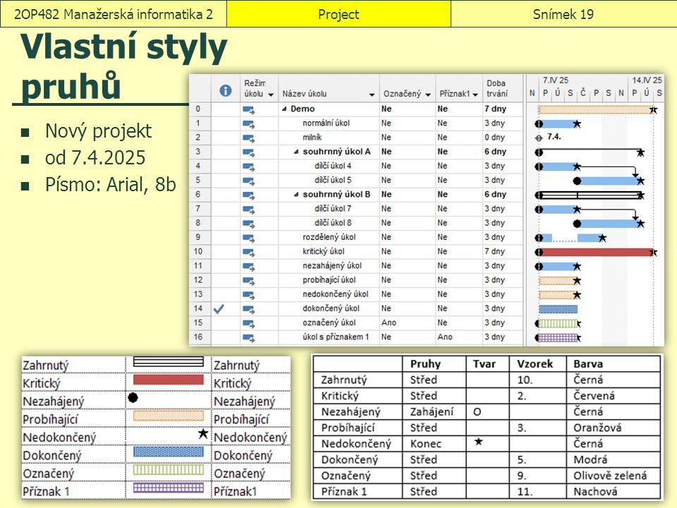 Vlastní styly pruhů Nový projekt od 7.4.2025 Písmo: Arial, 8b ProjectSnímek 192OP482 Manažerská informatika 2