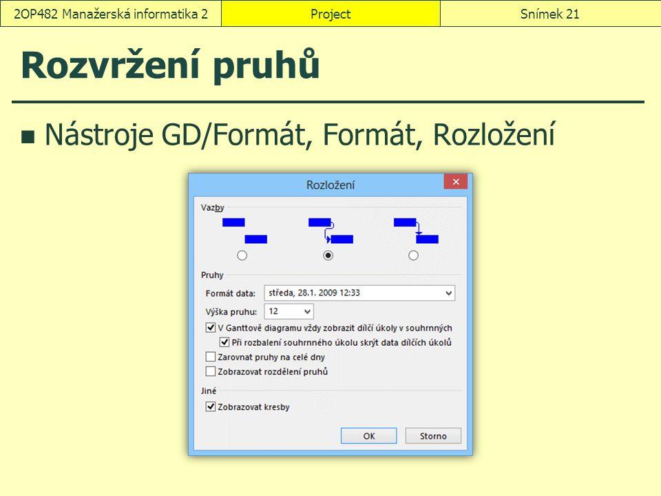 Rozvržení pruhů Nástroje GD/Formát, Formát, Rozložení ProjectSnímek 212OP482 Manažerská informatika 2