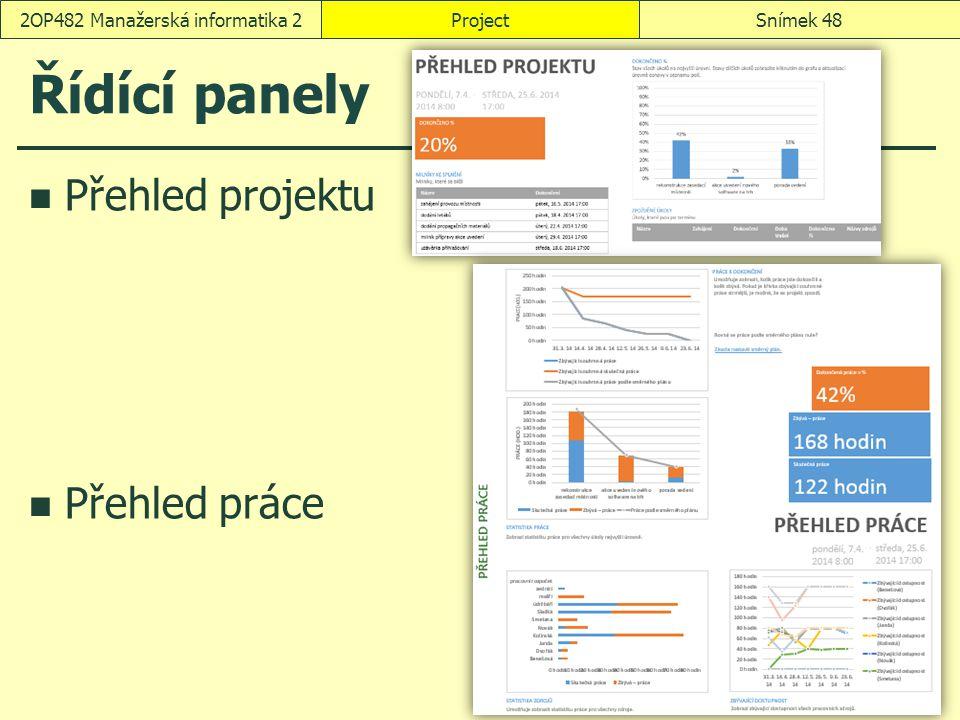 Řídící panely Přehled projektu Přehled práce ProjectSnímek 482OP482 Manažerská informatika 2