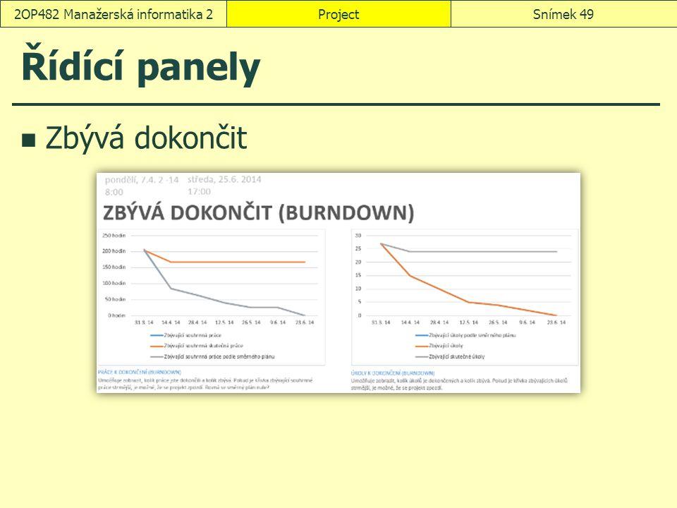 Řídící panely Zbývá dokončit ProjectSnímek 492OP482 Manažerská informatika 2