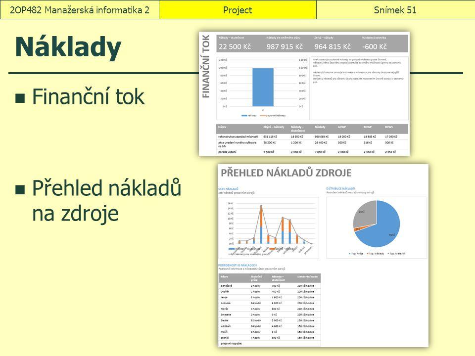Náklady Finanční tok Přehled nákladů na zdroje ProjectSnímek 512OP482 Manažerská informatika 2