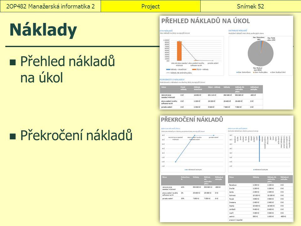 Náklady Přehled nákladů na úkol Překročení nákladů ProjectSnímek 522OP482 Manažerská informatika 2