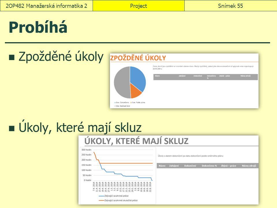 Probíhá Zpožděné úkoly Úkoly, které mají skluz ProjectSnímek 552OP482 Manažerská informatika 2