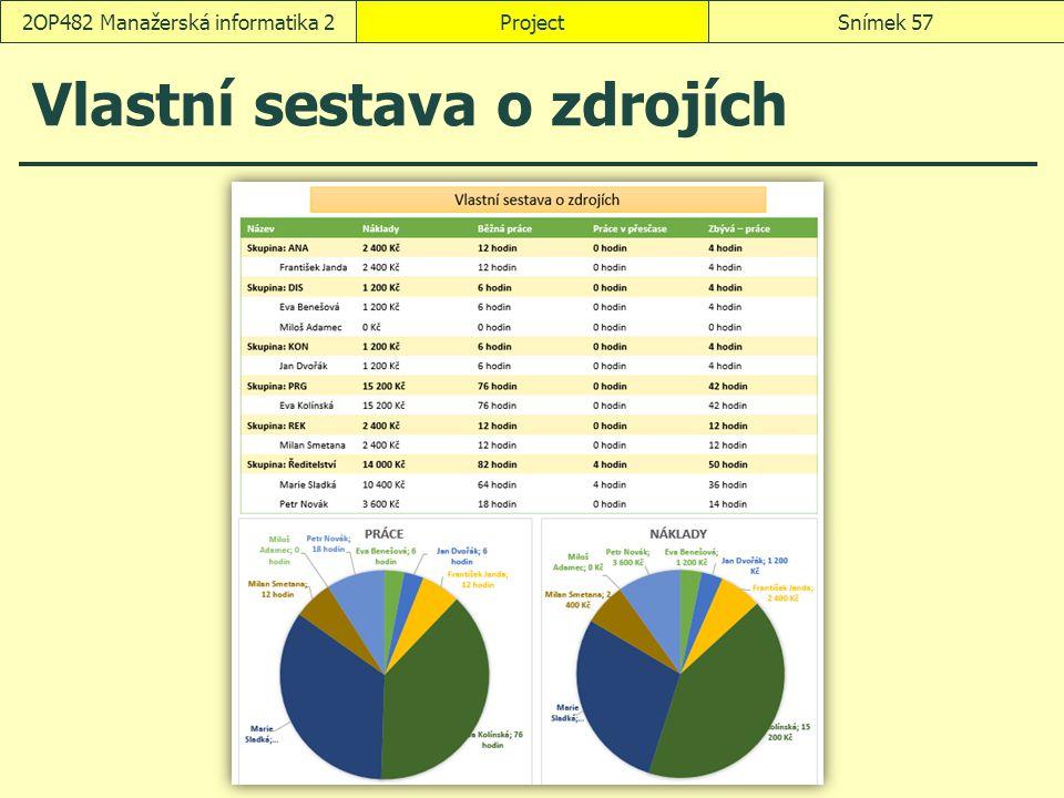 Vlastní sestava o zdrojích ProjectSnímek 572OP482 Manažerská informatika 2