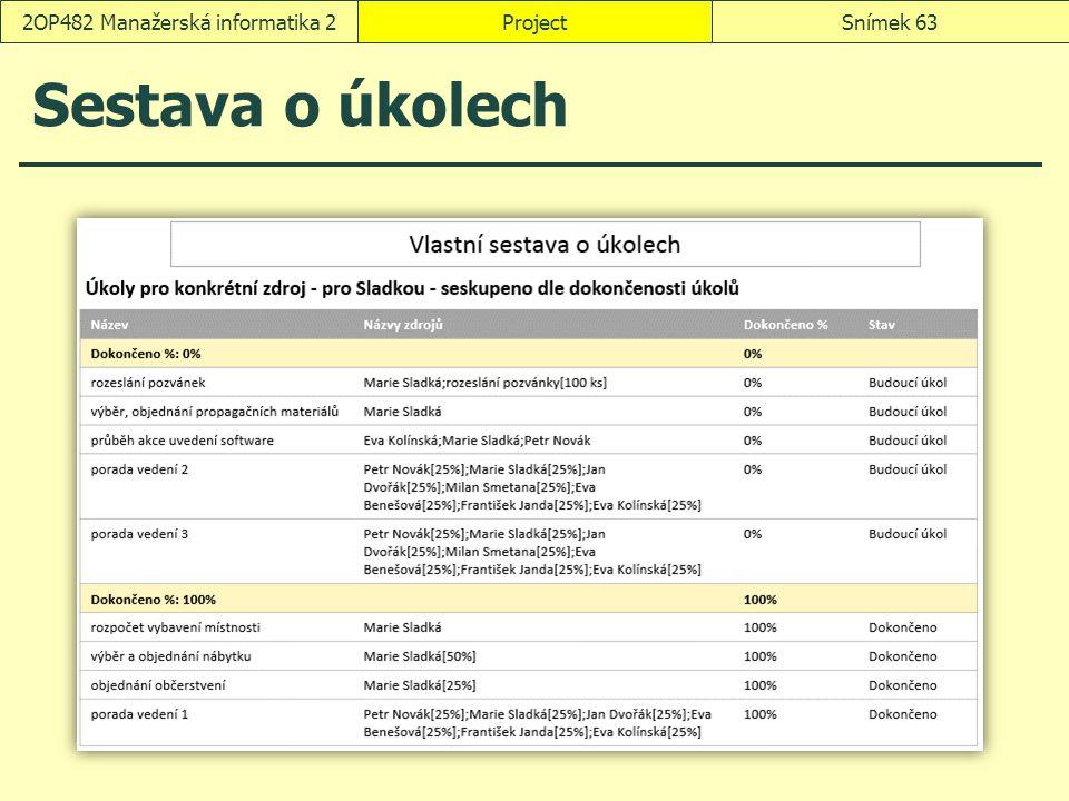 Sestava o úkolech ProjectSnímek 632OP482 Manažerská informatika 2