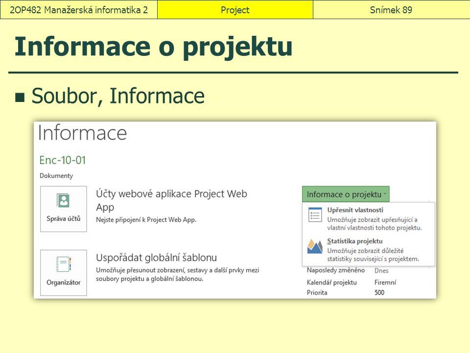 Informace o projektu Soubor, Informace ProjectSnímek 892OP482 Manažerská informatika 2