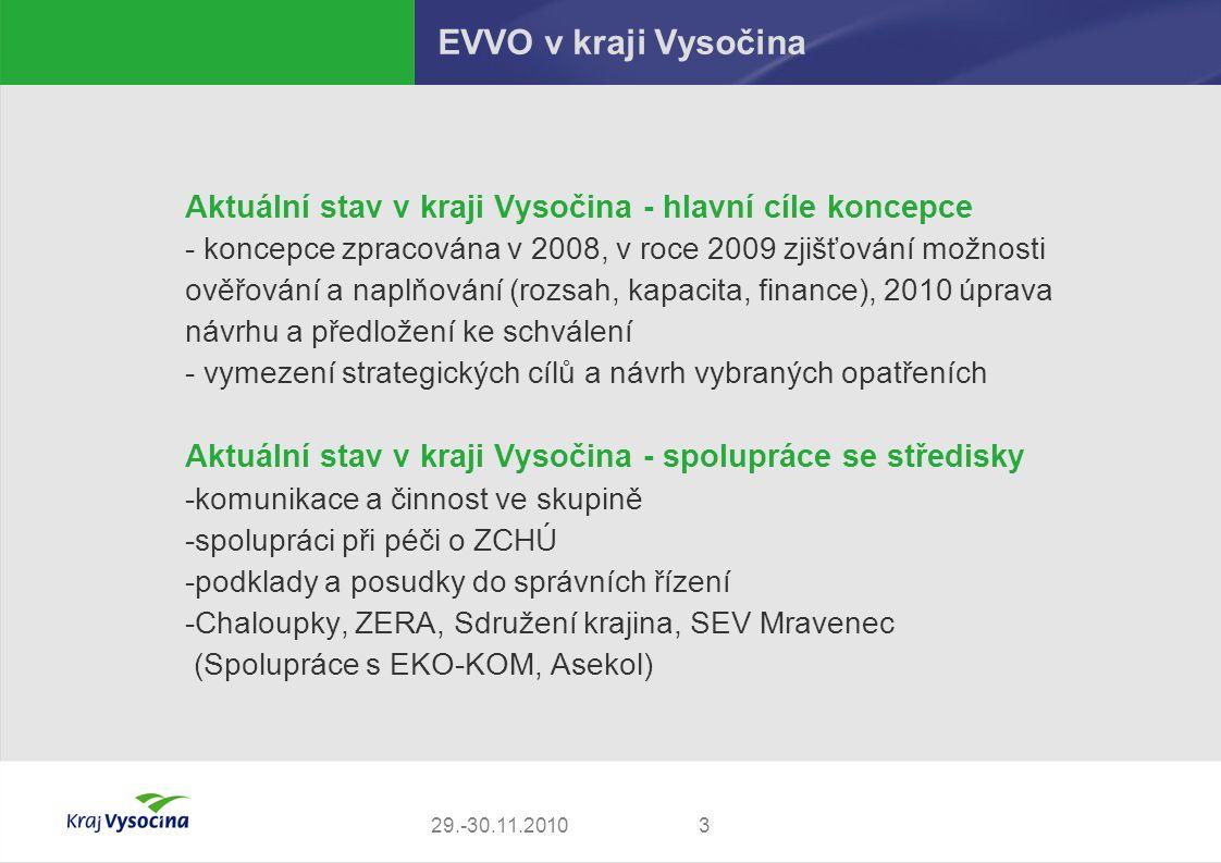 329.-30.11.2010 EVVO v kraji Vysočina Aktuální stav v kraji Vysočina - hlavní cíle koncepce - koncepce zpracována v 2008, v roce 2009 zjišťování možno