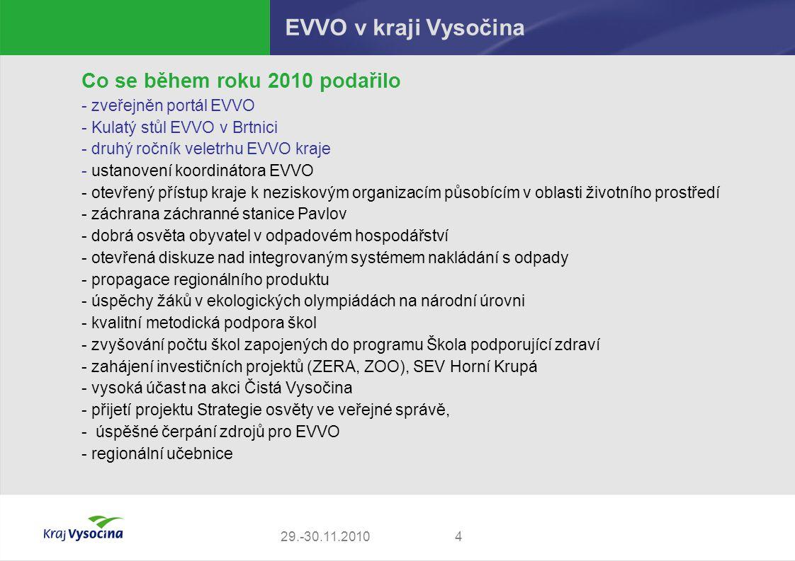 429.-30.11.2010 EVVO v kraji Vysočina Co se během roku 2010 podařilo - zveřejněn portál EVVO - Kulatý stůl EVVO v Brtnici - druhý ročník veletrhu EVVO