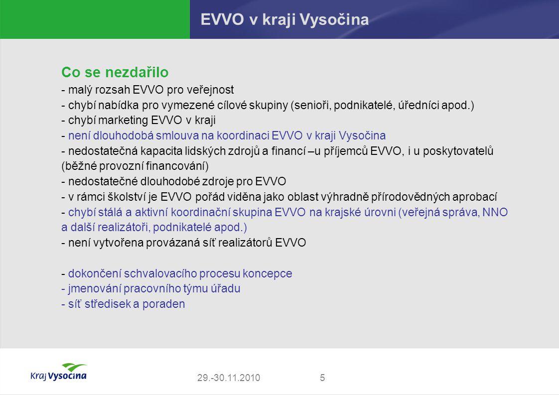 529.-30.11.2010 EVVO v kraji Vysočina Co se nezdařilo - malý rozsah EVVO pro veřejnost - chybí nabídka pro vymezené cílové skupiny (senioři, podnikate