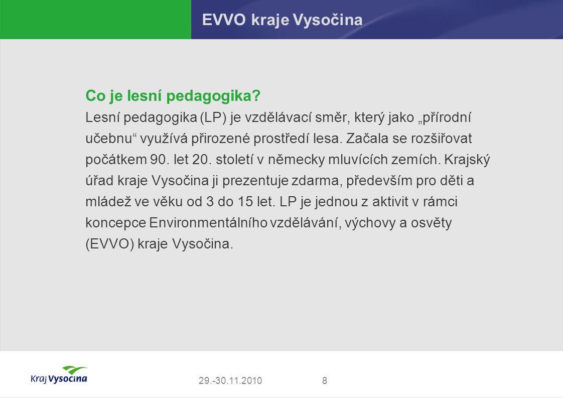 """829.-30.11.2010 EVVO kraje Vysočina Co je lesní pedagogika? Lesní pedagogika (LP) je vzdělávací směr, který jako """"přírodní učebnu"""" využívá přirozené p"""