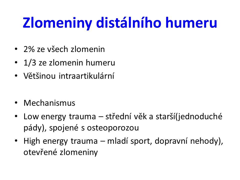 Zlomeniny distálního humeru 2% ze všech zlomenin 1/3 ze zlomenin humeru Většinou intraartikulární Mechanismus Low energy trauma – střední věk a starší