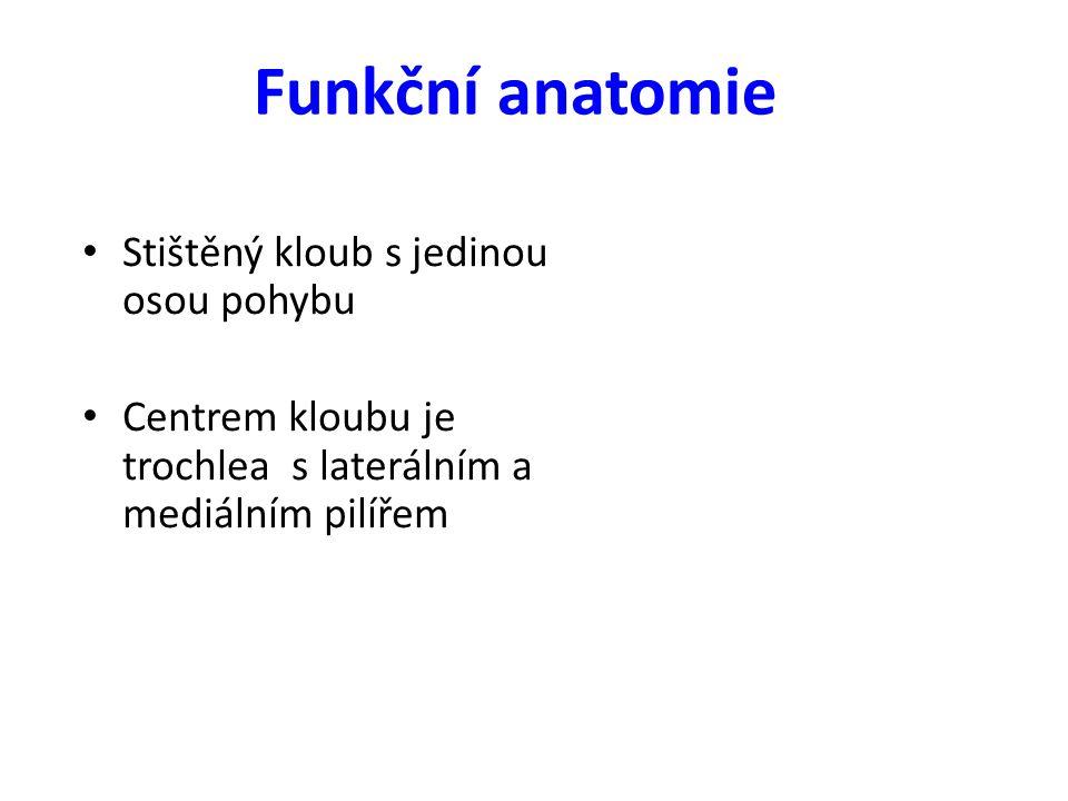 Funkční anatomie Stištěný kloub s jedinou osou pohybu Centrem kloubu je trochlea s laterálním a mediálním pilířem