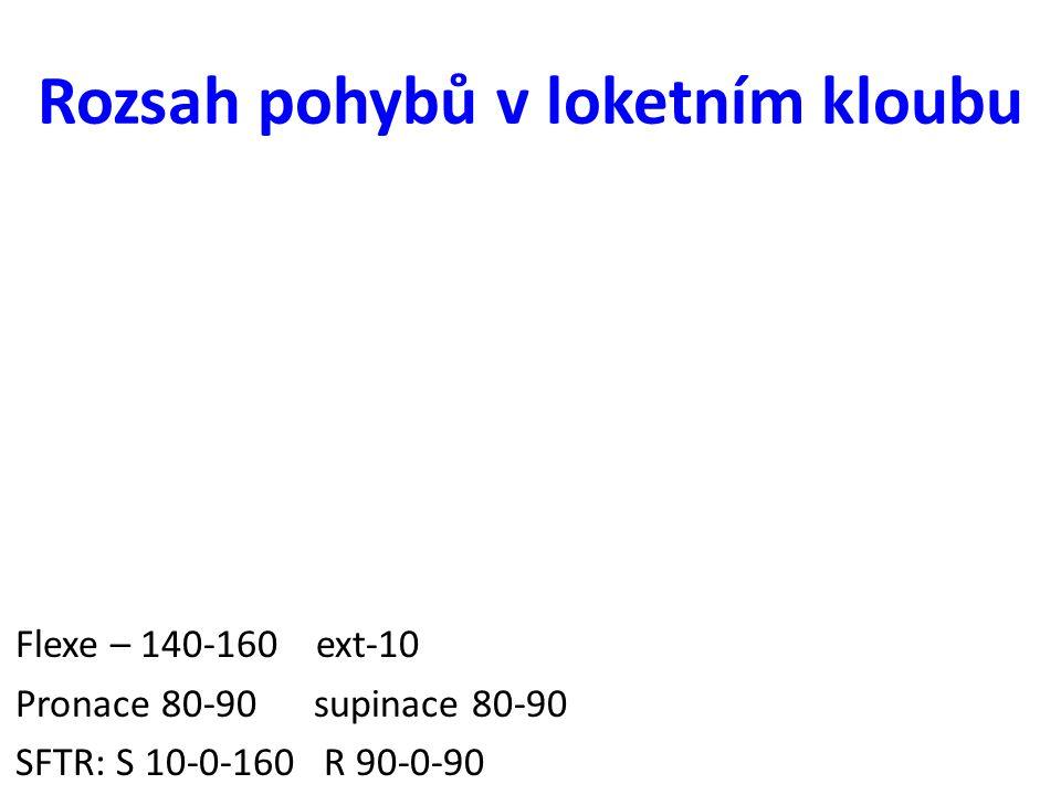 Rozsah pohybů v loketním kloubu Flexe – 140-160 ext-10 Pronace 80-90 supinace 80-90 SFTR: S 10-0-160 R 90-0-90