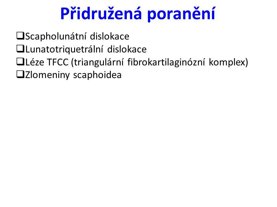 Přidružená poranění  Scapholunátní dislokace  Lunatotriquetrální dislokace  Léze TFCC (triangulární fibrokartilaginózní komplex)  Zlomeniny scapho