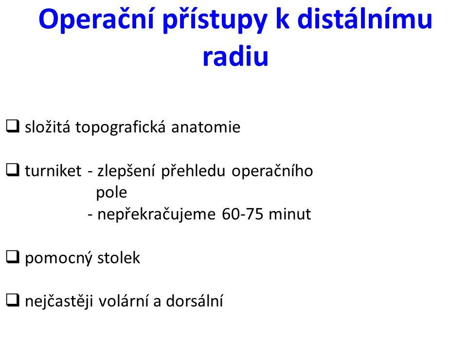 Operační přístupy k distálnímu radiu  složitá topografická anatomie  turniket - zlepšení přehledu operačního pole - nepřekračujeme 60-75 minut  pom