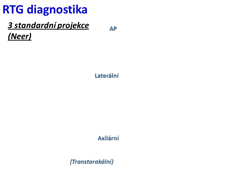 AP Laterální Axilární (Transtorakální) RTG diagnostika 3 standardní projekce (Neer)