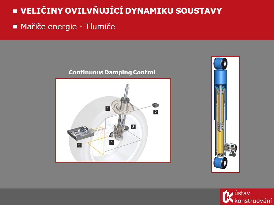 Continuous Damping Control Mařiče energie - Tlumiče VELIČINY OVILVŇUJÍCÍ DYNAMIKU SOUSTAVY