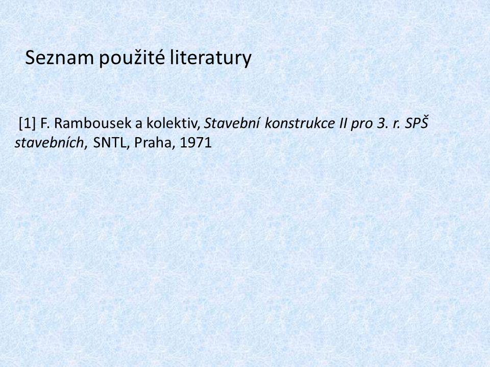 Seznam použité literatury [1] F. Rambousek a kolektiv, Stavební konstrukce II pro 3. r. SPŠ stavebních, SNTL, Praha, 1971