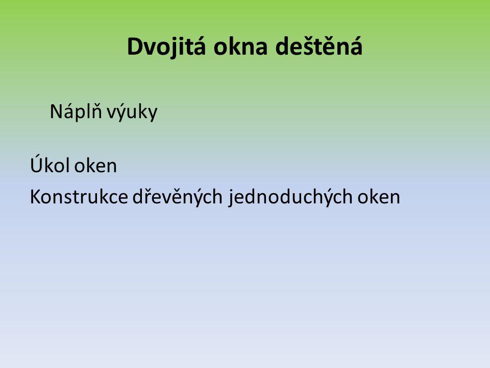 Význam dvojitých deštěných oken Těmto oknům se také říká – ŠPALETOVÁ – dříve KASTLOVÁ.