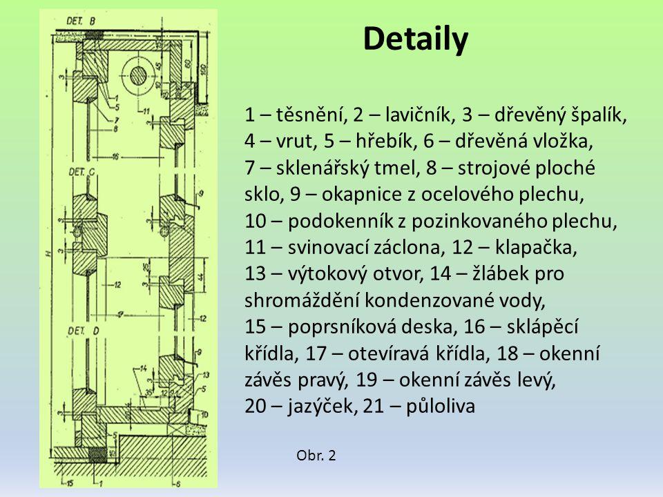 Detaily Obr. 2 1 – těsnění, 2 – lavičník, 3 – dřevěný špalík, 4 – vrut, 5 – hřebík, 6 – dřevěná vložka, 7 – sklenářský tmel, 8 – strojové ploché sklo,